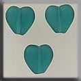 12276 - Channeled Heart Matte Emerald 8mm - 3 per pkg